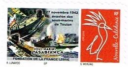 Nouvelle Caledonie Timbre Personnalise A Moi Prive Cagou Generique Sous Marins Toulon Casabianca France Libre Neuf Unc - Nouvelle-Calédonie