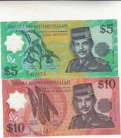 Banconote 5+10 Lima Ringgit Dollar Type Sultan 1996 Polymer Unc. - Brunei