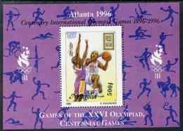 Mongolia 1996 Atlanta Olympics - Basketball 500t Perf M/sheet Additionally Overprinted For Olympic Centenary U/m SG MS 2 - Mongolia