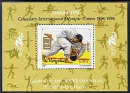 Mongolia 1996 Atlanta Olympics - Judo SPORT MARTIAL ARTS 600t Perf M/sheet Additionally Overprinted For Olympic Centenar - Mongolia