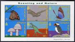 Mongolia 2001 Scouting & Nature SCOUTS BUTTERFLIES FUNGI DINOSAURS BATS MAMMALS BIRDS PUFFINS Perf M/s 6 Values U/m, SG - Mongolia
