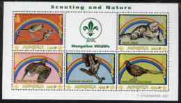 Mongolia 2001 Scouting & Nature SCOUTS RAINBOWS CATS BIRDS OF PREY GAME PHEASANTS Perf M/s 5 Values Plus Label U/m, SG M - Mongolia