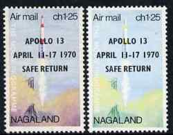 Nagaland 1970 Safe Return Of Apollo 13 SPACE Opt On 1c25 Perf Moon Programme With Red Omitted Plus Normal, Both U/m - India