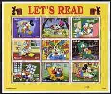 Palau 1997 Let's Read, Disney BOOKS LITERATURE COMPUTERS Sheetlet Containing Set Of 9 X 32c Values U/m - Palau