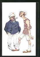 Künstler-AK Teodor Axentowicz: Kapitän Und Matrose Im Gespräch - Illustrateurs & Photographes