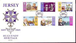 Jersey 300th Anniversary Of Huguenot Immigration FDC SG#370-375 - Jersey