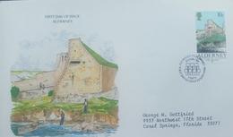 O) 1986 ALDERNEY -FORT GROSNEZ SC 28  10p - HERITAGE-  FDC TO USA - Alderney