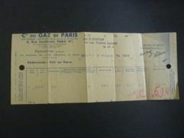 MEMORANDUM COMPAGNIE Du GAZ  DE PARIS  REDEVANCES  Aout 1945 - 1900 – 1949