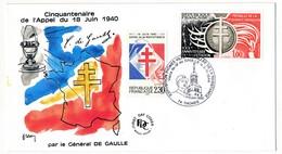"""FRANCE - Enveloppe - Cachet Temporaire """"Visite Du Général De Gaulle..."""" - 74 THONES - 18.6.1990 - De Gaulle (General)"""