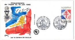 """FRANCE - Enveloppe - Cachet Temporaire """"Charles De Gaulle 100eme Anniversaire De Sa Naissance"""" - 76 EU - 8.5.1990 - De Gaulle (General)"""
