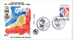 """FRANCE - Enveloppe - Cachet Temporaire """"Hommage Au Général De Gaulle """" - 02 COQUELLES - 24.5.1990 - De Gaulle (General)"""