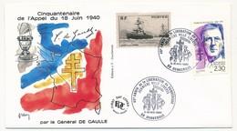 """FRANCE - Enveloppe - Cachet Temporaire """"46eme Anniversaire De La Libération De Dunkerque"""" - 9/10.5.1990 - De Gaulle (Général)"""