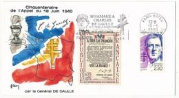"""FRANCE - Enveloppe - OMEC Illustrée """"Hommage à Charles De Gaulle"""" - PARIS HOTEL - 18.6.1990 - De Gaulle (General)"""