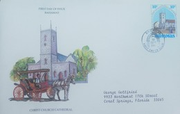 O) 1986 BAHAMAS, CHRIST CHURCH CATHEDRAL- CARRIAGE, FDC XF TO USA - Bahamas (1973-...)