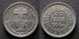 CAMBODGE 20 CENT 1953 Royaume INDOCHINE FRANCAISE / CAMBODIA / INDOCHINA PORT OFFERT - Colonias