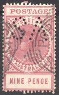 9d.Thick «Postage»  Type B Lake Perf 12½  SG 302d  «SA» Perfin - 1855-1912 South Australia