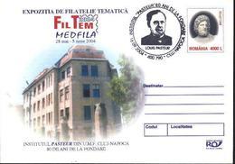 PASTEUR - Portrait, L'Institut Louis PASTEUR, ASCLEPIOS    Entier Postal + Cachet Special - Roumanie / Romania 2004 - Louis Pasteur