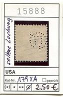 USA - Etats-Unis - Michel 179 XA Mit Seltener Lochung / Rare Perfins  - Oo Oblit. Used Gebruikt - - Used Stamps