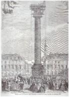 Gravure 1863 Place Vendome  PARIS   Mise En Place De La Nouvelle Statue    Le 4 Novembre 1863  75001 - Vieux Papiers