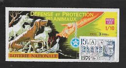 BILLET DE LOTERIE DÉFENSE & PROTECTION DES ANIMEAUX 1974 : - Billets De Loterie