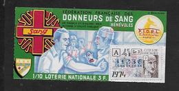 BILLET DE LOTERIE SOS SANG CROIX ROUGE 1974 : - Billets De Loterie