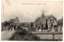 CPA  27      LE MANOIR SUR SEINE    1918      L EGLISE LE CIMETIERE ET LA ROUTE - Le Manoir