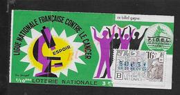 BILLET DE LOTERIE TRANCHE CONTRE LE CANCER A LA SEMEUSE 1975 : - Billets De Loterie