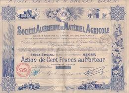 ACTION -SOCIÉTÉ ALGERIENNE MATERIEL AGRICOLE ALGERIE ALGER - TITRE FRANÇAIS SAMA TRACTEUR BATTEUSE FAUCHEUSE - Industrie