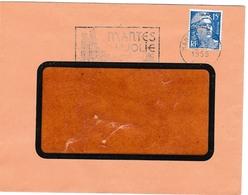Gandon Perforé CN - Mantes-la-jolie 1955 - 3 Scans Dont Verso - Lettre - Perforés