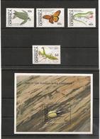 DOMINIQUE :  FAUNE Insectes Année 1988 N°Y/T : 1080/83** Et Bloc N° 143** Côte: 20,00 € - Dominique (1978-...)