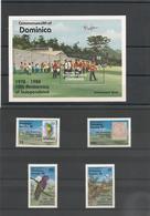 DOMINIQUE : 10 éme Anniversaire De L'Indépendance Année 1988 N°Y/T :  1051/54** Et Bloc N° 135** Côte : 15,50 € - Dominique (1978-...)