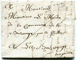 SARTHE De LE MANS LAC Du 18/10/1814 Avec Linéaire De Port Payé 28x9 + Verso Taxe De 2 Pour LA BAZOUGE - Postmark Collection (Covers)