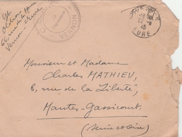 Vernon Eure 22.08.1945 - Cachet Franchise COA 208 - Bolli Militari A Partire Dal 1940 (fuori Dal Periodo Di Guerra)