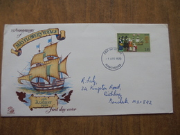 S023: FDC: 350th Anniversary Of MAYFLOWER'S VOYAGE - 15 August 1620. 1/6d Stamp. -1 APR 1970 Manchester. - FDC