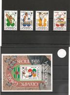 DOMINIQUE : J.O. D'été à SEOUL Année 1988 N°Y/T : 999/1002** Et Bloc N° 126** Côte : 15,50 € - Dominica (1978-...)