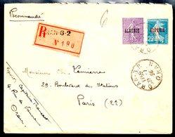 Enveloppe Recommandé Sur Entier D'Oran Algérie Timbres Semeuse 1924 - Algérie (1924-1962)
