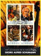 Bloc Feuillet Oblitéré - Georg Alfred Schumann Compositeur Allemand  N° 944/947KB (Michel) - République De Djibouti 2016 - Dschibuti (1977-...)