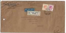 Hong Kong Registered Airmail 1950 King George VI Postal History Cover Sent To Pakistan. - Hong Kong (...-1997)