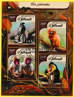 Bloc Feuillet Oblitéré - Les Primates - N° 914/917KB (Michel) - République De Djibouti 2016 - Dschibuti (1977-...)
