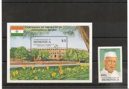 DOMINIQUE : Naissance De JAWAHARLA NEHRU  Année 1989 N°Y/T : 1178** Et Bloc N° 160** - Dominica (1978-...)