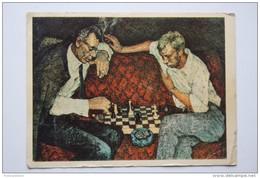 """JEU - ECHECS - Weinstein M.I. """"Chess"""". OLD SOVIET Art POSTCARD. 1960s - Echecs"""