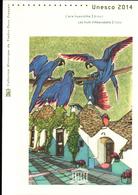 2014, DOCUMENT OFFICIEL DE LA POSTE: UNESCO 2014, L'ara Hyacinthe Bresil, Les Trulli D'alberobella Italie - Documents De La Poste
