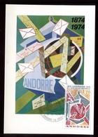 Andorre - Carte Maximum 1974 - UPU - O 175 - Cartes-Maximum (CM)