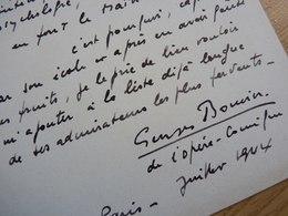Georges BOUVIER (19..-19..) Chanteur BARYTON Opera Comique. Art Lyrique. AUTOGRAPHE à Georges Wague - Autographs
