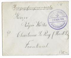 1914 - ENVELOPPE D'ALLEMAGNE Via BERN TRANSIT PRISONNIERS GUERRE =>CAMP D'INTERNEMENT CHARTREUSE De LE PUY (HAUTE LOIRE) - Postmark Collection (Covers)
