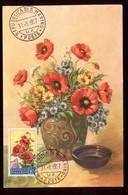 Saint Marin - Carte Maximum 1957 - Fleurs - O 200 - Saint-Marin