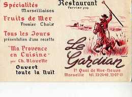 13 MARSEILLE Carte Pub Restaurant Ferrier Quai De Rive Neuve, Illustrateur, Gardian - Marseilles