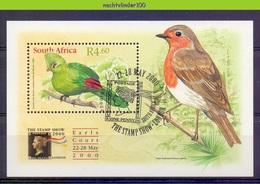 Nev073 FAUNA VOGELS TOERAKO ROODBORSTJE ROBBIN TOURACO STAMP SHOW BIRDS VÖGEL AVES OISEAUX SOUTH AFRICA 2000 Gebr/used - Coucous, Touracos