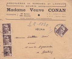 LETTRE RECOMMANDEE  DE GOURIN EN MORBIHAN  POUR PONTIVY DE MME VEUVE CONAN ARDOISIERES  DE KEROUEC   LE 12/03/1946 - Storia Postale