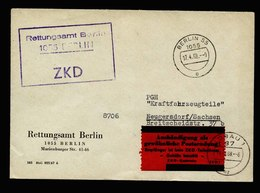A5642) DDR ZKD Brief Rettungsamt Berlin 17.4.68 Mit Rotem ZKD7-Zettel - DDR